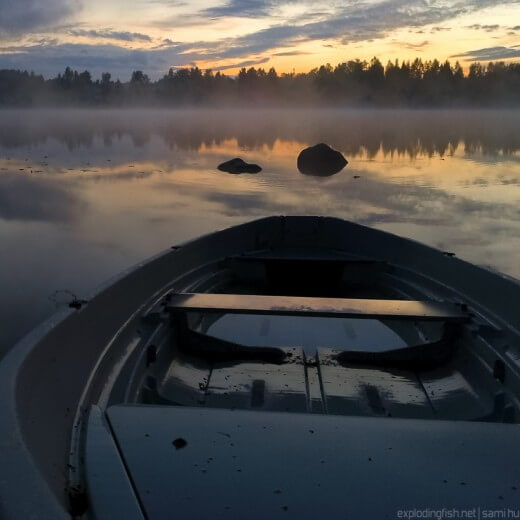 Misty sunset at Lake Palokkajärvi