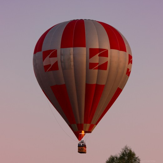 A hot air balloon in the evening sky