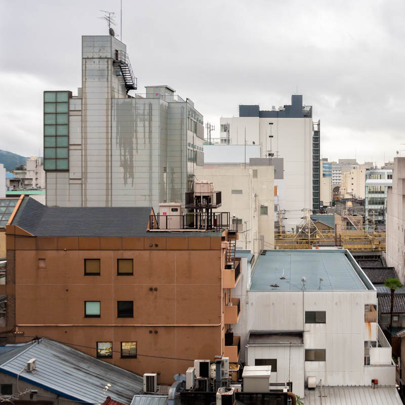 A view south across Aneyakoji dori from Hotel Alpha Kyoto, located on the Kawaramachi dori.