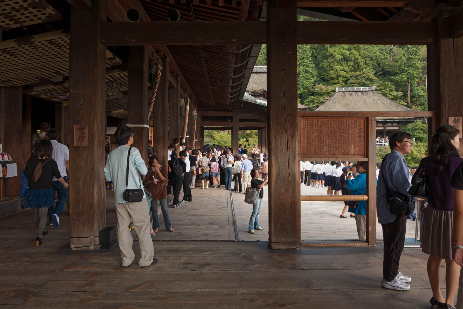 Tourists inside the Kiyomizudera temple